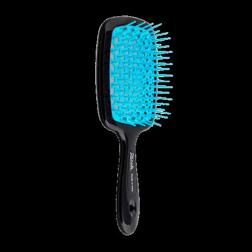 Расческа для волос Janeke Superbrush, черная с голубым