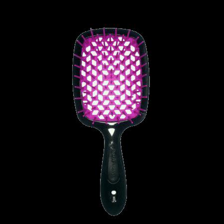 Расческа для волос Janeke Superbrush Small, черная с фуксией